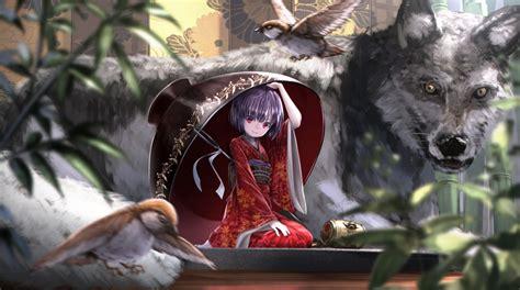 anime anime girls wolf kimono original characters