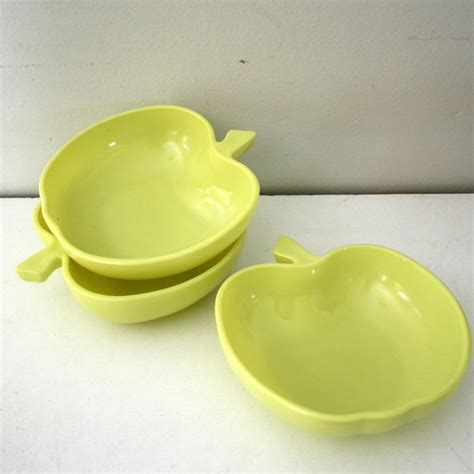 apple dishes set of three vintage yellow green apple dishes