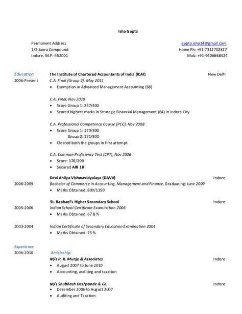 Company Articleship Resume by Resume Isha Gupta