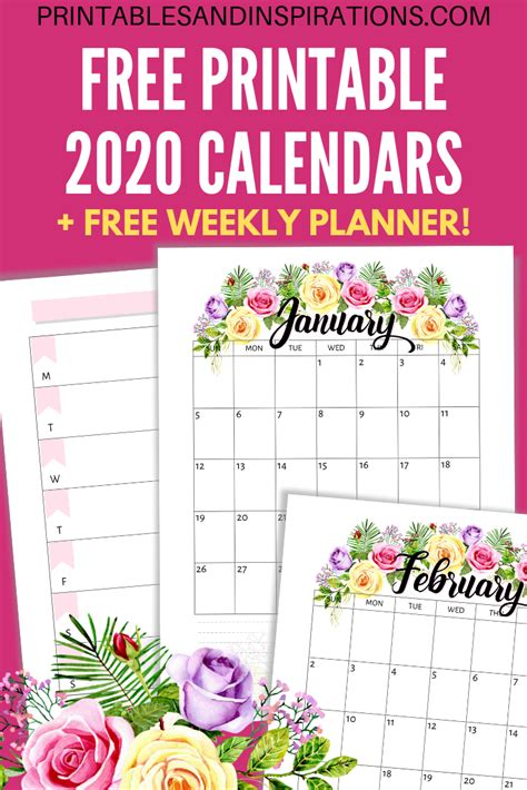 printable  calendar  flowers printables
