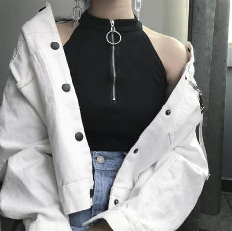 itgirl shop front zipper ring black sleeveless crop top