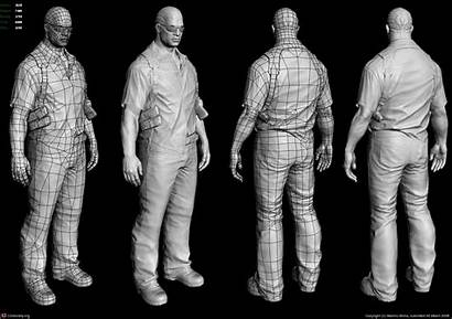 Wireframe Character 3d Polycount Topology Poly Low