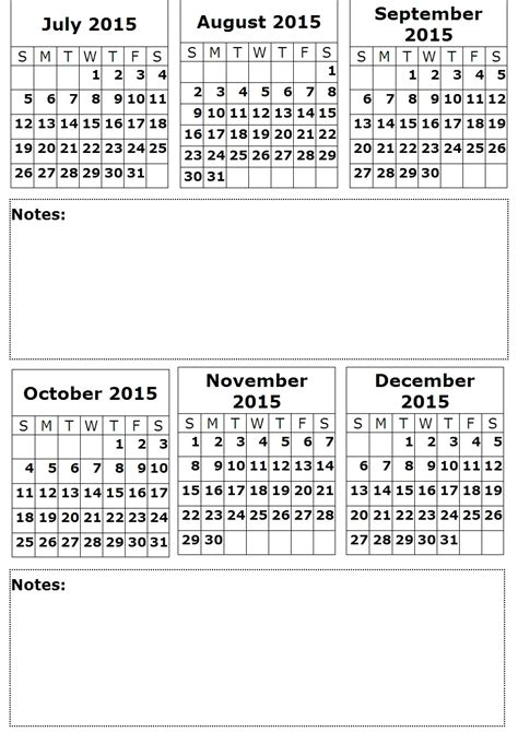 Printable 2015 Calendar 4 Month Per Autos Post 2015 Printable 6 Month Same Page Calendar Html Autos Post