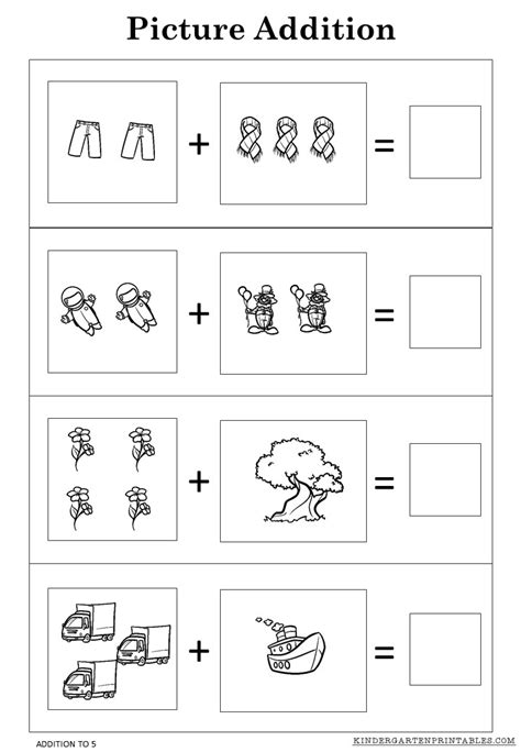 picture addition worksheets   printables