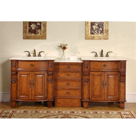 classic double sink vanity  hand carved molding