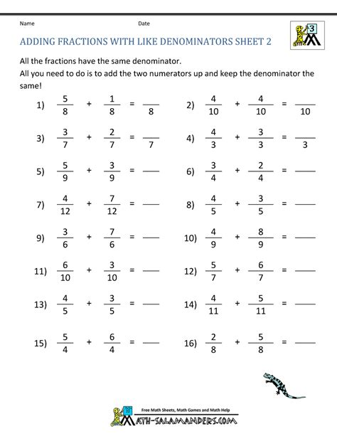 free fraction worksheets adding subtracting fractions