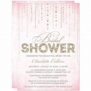 lovely bridal shower invitations gold and pink ideas With wedding showers invitations