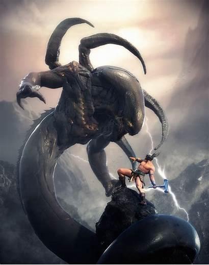 Thor Ragnarok Mitologia Battle Vs Jormungandr Nordica