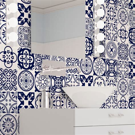 16 stickers carrelages azulejos ornements florales bleu