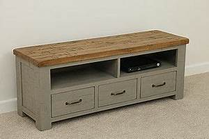Clermont Painted Rough Sawn Solid Oak Wide TV Cabinet