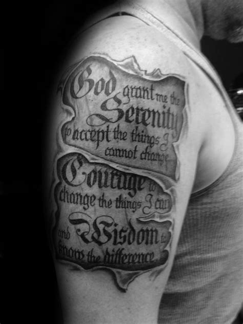 Ripped Skin Serenity Prayer Scroll Guy Upper Arm Tattoos | RIPPIN OUT / SKIN/BACK | Tattoos