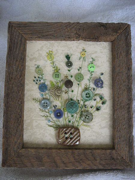 antique button picture  rustic wood frame rustic home