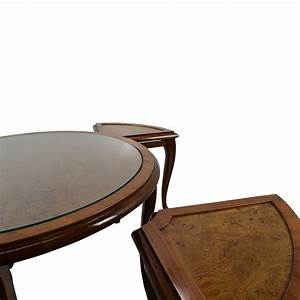 69 off round glass top coffee table with 4 nesting for Circular glass top coffee table