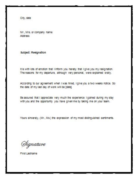 sample letter  resignation  notice resignation letter
