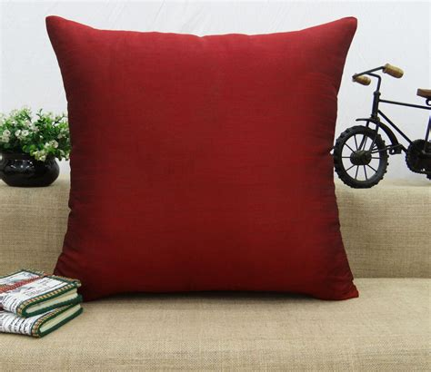home bed decor dupion silk solid pillow throw cushion cover case choose size ebay