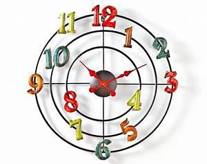 Pendule De Cuisine Moderne : horloge chiffres en couleurs becquet ~ Carolinahurricanesstore.com Idées de Décoration