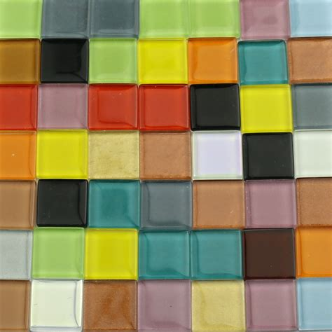 50pcs 200g 2cm mixed color crafts glass mosaic tiles