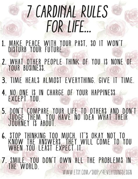 7 Cardinal Rules For Life! Printable Sign For Your Daily