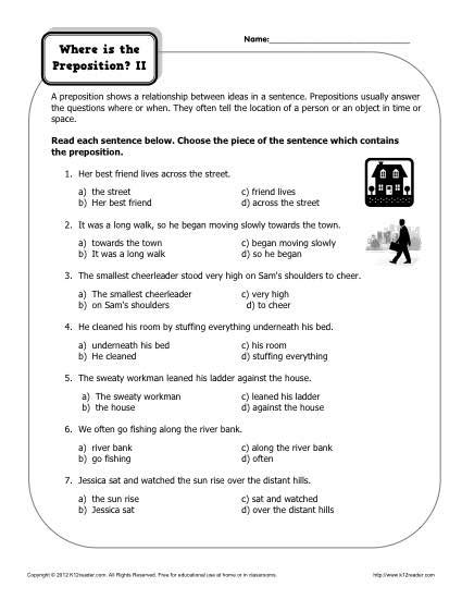 prepositional phrases worksheets 7th grade worksheets for
