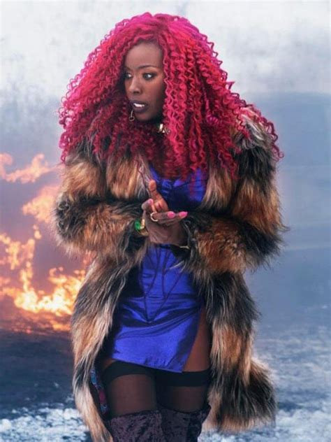 starfire titans coat tv series fur jacket leather