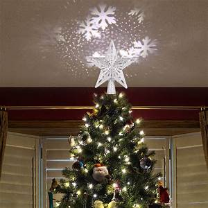 Hollow, Silver, Star, Christmas, Tree, Topper, 3d, Glitter, Lighted, Star, Tree, Toppers, With, Rotating, Led