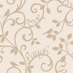 Fine Decor Live Love Laugh Scroll Wallpaper Cream / Gold ...