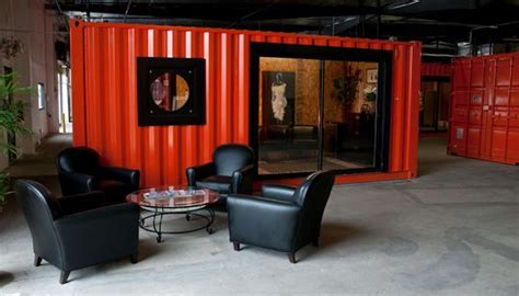 shipping containers transform warehouse  office space