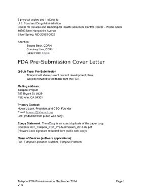 fda presubmission cover letter email cover letter template forms fillable printable