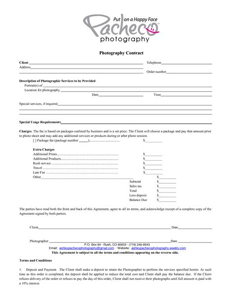 Photography Contract Template Photography Contract Template Beepmunk