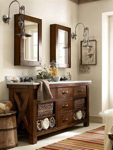 pottery barn bathroom ls benchwright sink console rustic mahogany finish