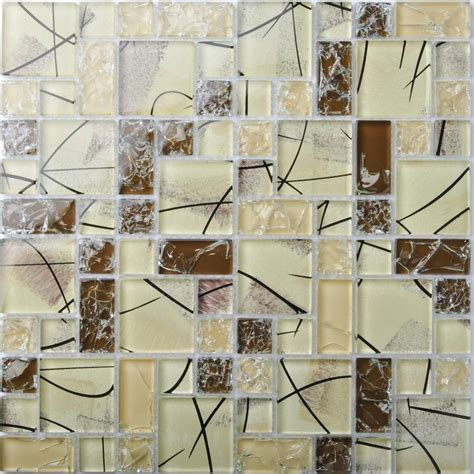 TST Crystal Glass Tiles Brown Mosaic Interior Crackle