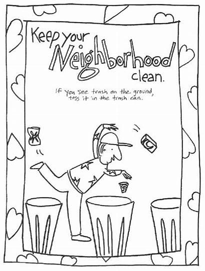 Clean Coloring Keep Neighborhood Environment Pages Printable