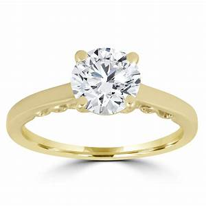 1 ct diamond round brilliant solitaire engagement ring 14k With wedding rings solitaire