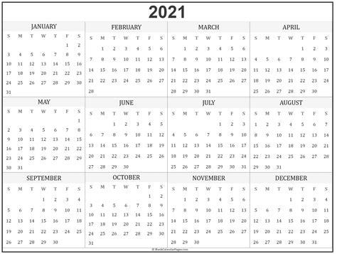 2020 Year Calendar Printable Free