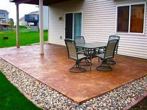 Cheap garden paving concrete patio design ideas plain for Concrete patio design ideas