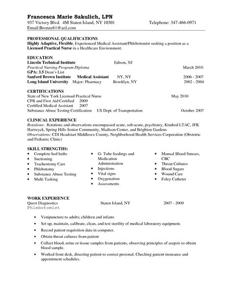 22291 exles of lpn resumes entry level lpn resume sle nursing