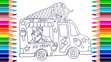 draw ice cream truck  kids coloring pages