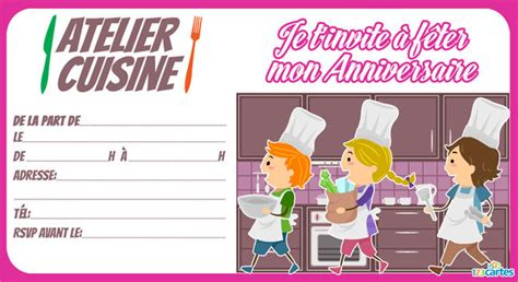 anniversaire cuisine invitation anniversaire atelier cuisine 123 cartes