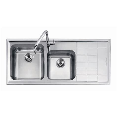 abey kitchen sinks abey 1 75 square right bowl with drainer stainless 1138
