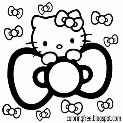 Sheets Kitty Hello Coloring Ribbon Bow Printable