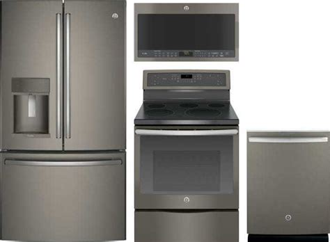 ge profile  piece appliance package  pfekmkes refrigerator pbejes electric range
