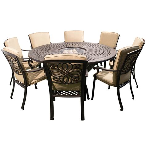 round outdoor dining table for 8 kensington firepit grill 8 chair dining set with 180cm
