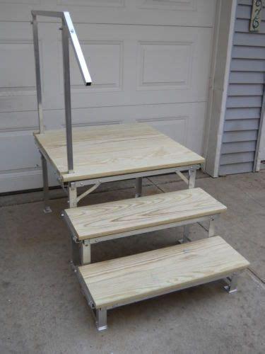 portable rv deck  steps  railings camping trailer rv porch  rv