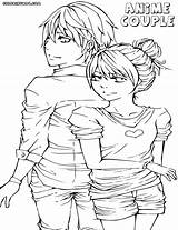 Coloring Anime Couple Pages Cute Couples Print Colorings sketch template