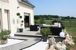 amenagement d39une terrasse en bois composite gris modern With amenagement d une terrasse