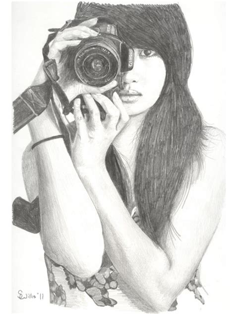 Girl with Camera Drawing