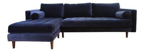 blue velvet sectional mid century modern navy blue velvet sectional sofa chairish