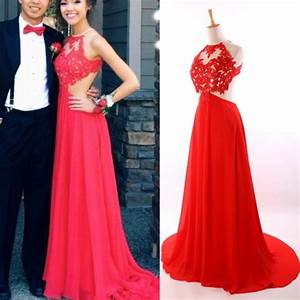 Red prom dress, Backless prom dress, Sexy prom dresses ...