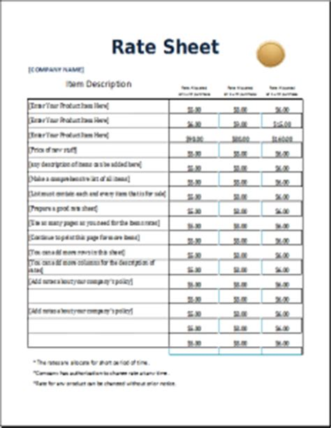 rate sheets templates 4 excel sheet templates for everyone word excel templates