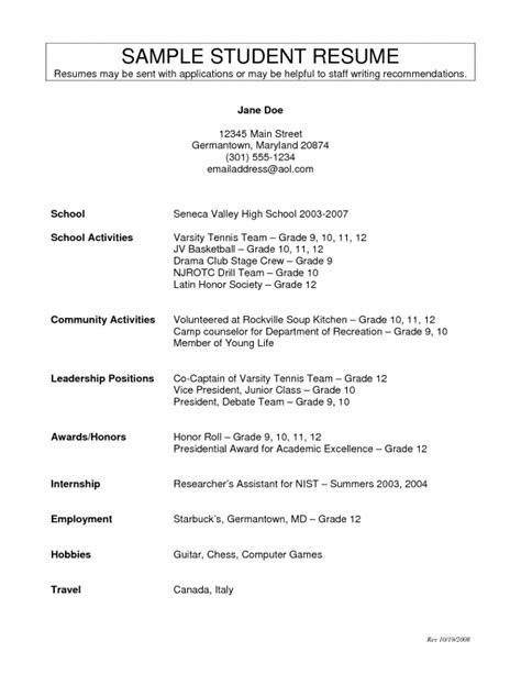 Do You Include High School Activities On Resume by Resume Activities For High School Students Sles Of Resumes